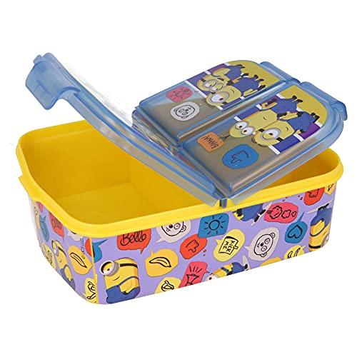 Minions - Contenitore per il pranzo per bambini, con 3 scomparti, ideale per la scuola, l'asilo o il tempo libero
