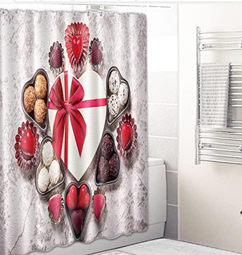 JOVEGSRVA Liebe Herz Schokolade Schimmel Proof Stoff Duschvorhang Für Bad Wasserdichter Badvorhang Badvorhang Mit 12 Haken