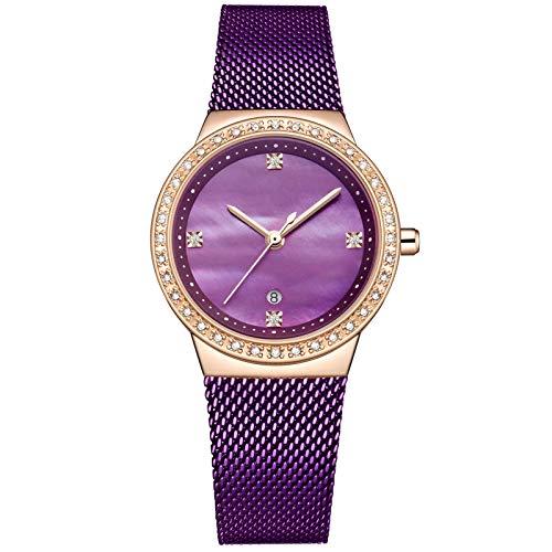 YQCH Vestido de muñeca de Cuarzo Relojes de Mujer Pulsera de Plata Reloj de Las señoras Reloj de Acero Inoxidable Reloj de Agua a Prueba de Agua (Color : A)