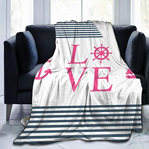YOLIKA Throw Blanket Lightweight Ultra-Soft,Pink Love Anchor Navy Blue Stripes,Living Room/Bedroom/Sofa Couch Bed Flannel 4 Seasons Quilt,50' x 60'