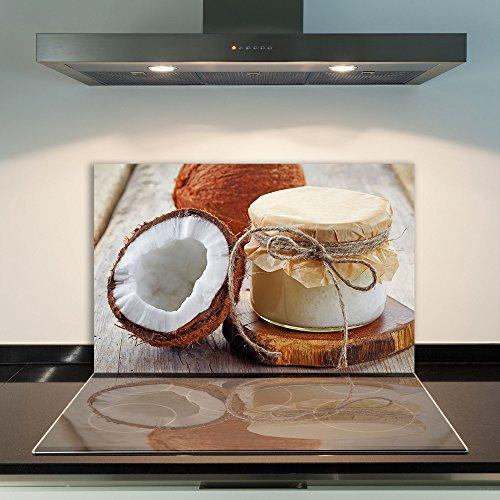 CTC-Trade | fornuisafdekplaten 80 x 52 cm keramische afdekking glas spatbescherming afdekplaat glasplaat fornuis afdekking van keramische kookplaat kokosnoot bruin
