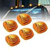 Amber Cab Marker Lights Kit [DOT FMVSS 108] [SAE P2] [Universal Fit] [Reflector Lens] [94-98 Dodge Ram Direct Replacement] Teardrop Cab Lights for Truck Van Ford F250 F350