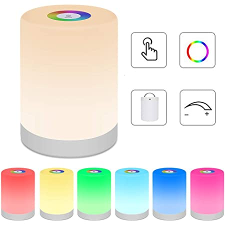 Bedside Table Lamp Touch Sensor, LED Night Light Rechargeable Portable Dimmable RGB Color Changing Modes for Kid Children Bedroom Camping, Adjustable Brightness Eye Caring Metal Handle (Warm White)