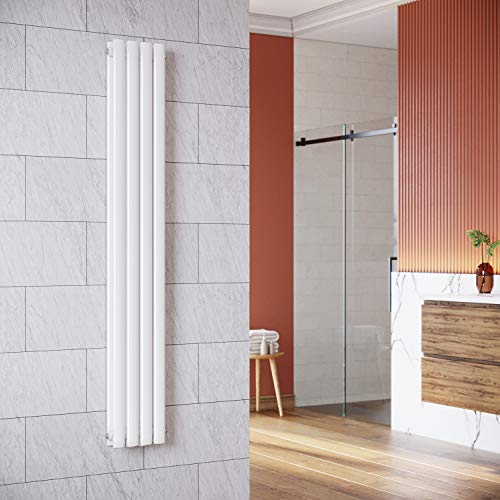 Design Röhren Heizkörper 230x1600mm Weiß Oval Paneelheizkörper Vertikal Mittelanschluss Doppellagig