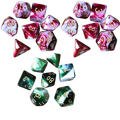 YzDnF Conjunto de Dados Juego de tableros de Dados de 2 Colores Multi-FACT Dice Dice Dice Set JEGUY Adecuado para Juegos (3 Sets) DND Game Polyhedral D & D (Color : Color18, Size : 15mm)