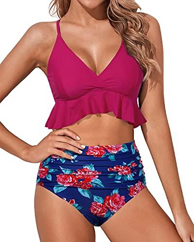 Tempt Me Women Swimsuit High Waisted Ruffle Bikini V Neck Cross Back Two Piece Bathing Suit Hot Pink Large