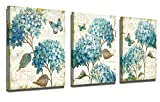 Flower Wall art Bathroom Living room Home Wall Decoration Painting Canvas Wall art Framed wall Decoration Modern Gallery Wall Decoration Print blue Watercolor Hydrangea Butterfly 12' x 16' x 3 Panels