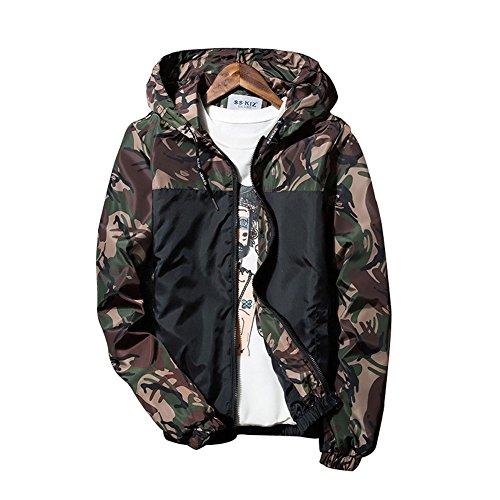 Banana Bucket Floral Bomber Jacket Men Hip Hop Slim Fit Flowers Bomber Jacket Coat Men's Hooded Jackets(US L) Label Size 3XL Camouflage