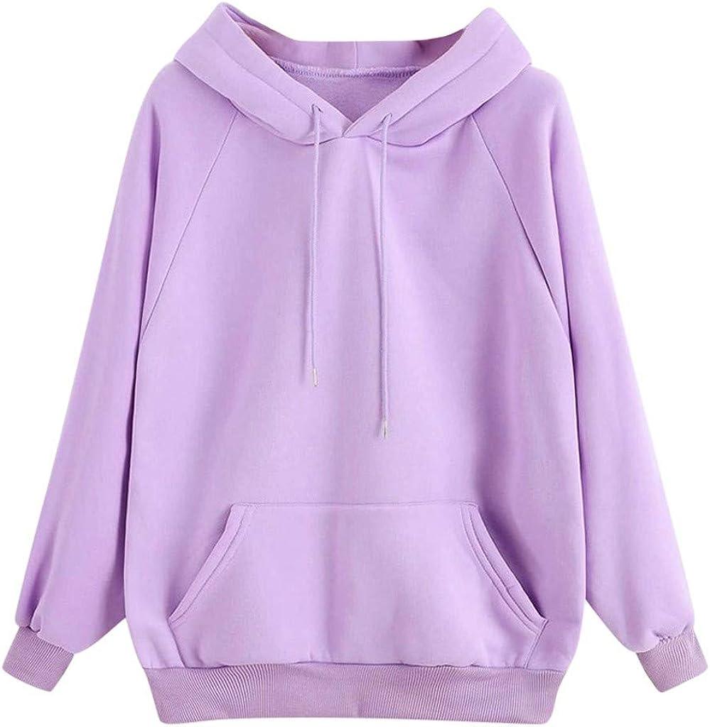 Xinantime Raglan Sweatshirts Women Solid Color Pullover Long Sleeve Blouse Ladies Basic Jumper Drawstring Tunic with Pocket