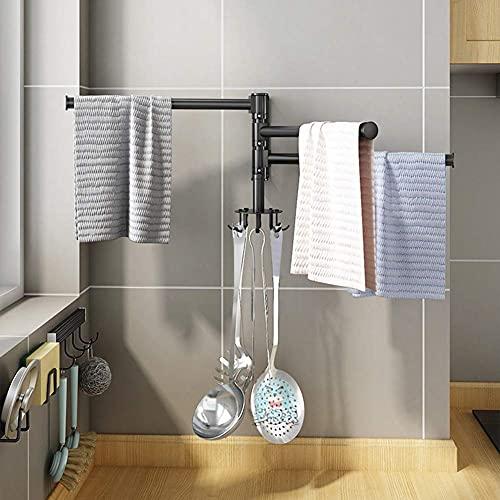 Toallero para baño Barras de toalla giratorias montadas en la pared Rotación de 180 ° para baño Cocina Inodoro, Gancho giratorio de 360 ° para espátula Cuchara Taza Toalla Llave, Organizad