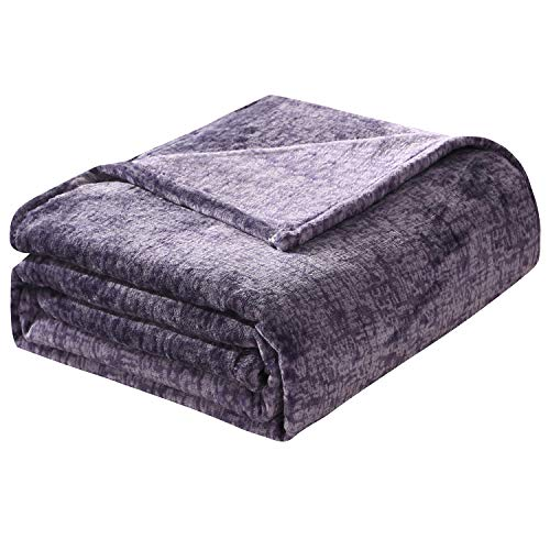 HT&PJ Super Soft Melange Flannel Fleece Throw Blanket Modern Printed Style Plush Throw Lightweight Velvet Blanket Twin Size(Melange Lavender Purple, 60'x80')