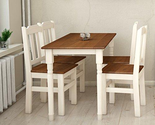 koma Essgruppe Kiefer Holz 120 cm x 70 cm Tisch und 4 Stühle Landhausstil (Eiche)