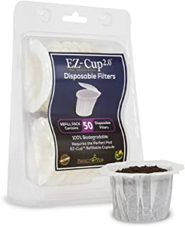 Perfect Pod EZ-Cup Paper Coffee Filters with Patented Lid for Single-Serve Coffee Brewers and K-Cups, Compatible with Keurig, 8-Pack (400 Filters)