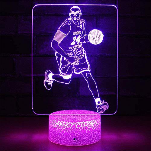 3D noche luz baloncesto Kobe 3D ilusión lámpara 16 cambio de color decoración lámpara con control remoto para niños, regalos para niños