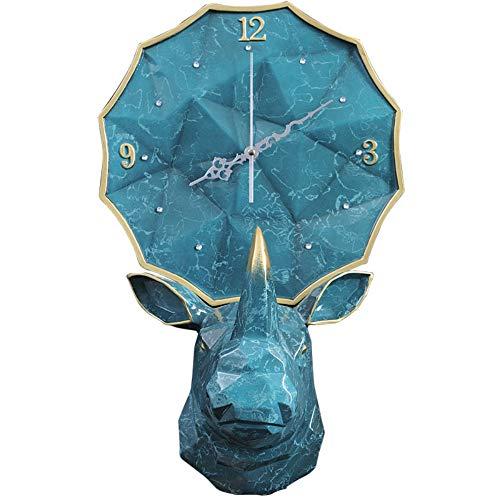 LTOOD Nordic créatif rhinocéros tête Horloge Moderne personnalité personnalité Pendaison Murale décoration Murale décoration Murale décoration Porche Salon Horloge silencieuse
