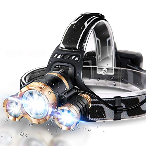 JLANG Headlamp LED Headlamp Flashlight USB Rechargeable IPX4 waterproof with 5 Modes and Adjustable Headband adult head lamp Perfect forCamping hunting running hiking