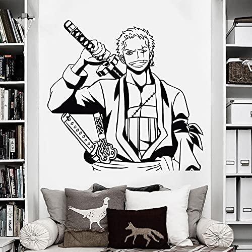 Anime dibujos animados Manga una pieza hermosa sonrisa Roronoa Zoro tres espadas pirata vinilo etiqueta de la pared calcomanía niño ventiladores dormitorio sala de estar decoración del hogar mura