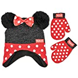 Disney Toddler Girl Winter Hat Set, Minnie Mouse Kids Beanie and Gloves 4-7, Polka dot Design, Mittens - Age 2-4