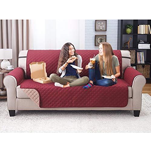 Barsku Funda de sofá reversible, resistente al agua, funda de sofá lavable con espuma antideslizante y correas elásticas para niños, perros, mascotas, rojo oscuro, 53*183