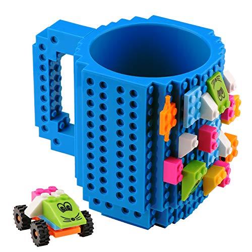 Coolty Build on Brick Tasse, Kaffeetasse mit 2 Pack Bausteine, Einzigartige Weihnachtsgeschenkidee (Blau)