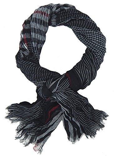 Ella Jonte Écharpes foulard d'homme élégant et tendance de la dernière collection by Casual-style noir gris blanc et rouge