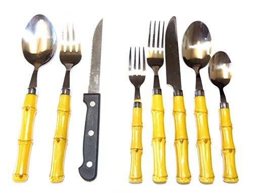 26 Pc Service for 4 Bamboo Look Flatware Set Incl Bonus Steak Knives Salad Set