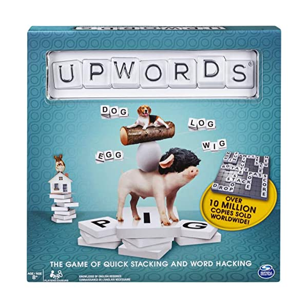 Upwords, Fun and Challenging Family Word Game with Stackable Letter Tiles, for Ages...