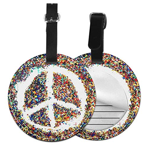 Luggage Tags Hippy Peace Scraps Pastel Suitcase Luggage Tags Business Card Holder Travel Id Bag Tag