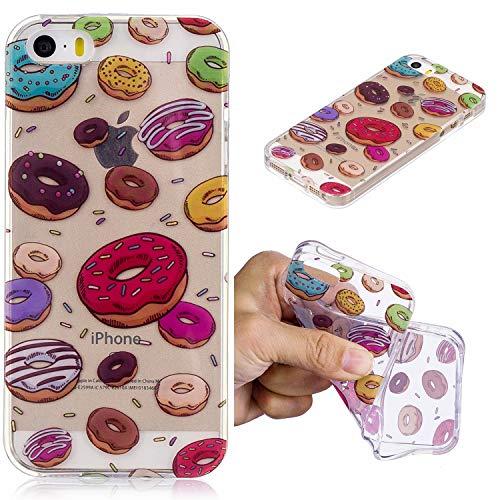 YYhin Fútbol Cover para Funda Apple iPhone 5/5S/SE(4.0'),Protector de Cuerpo Antideslizante, Ultrafino y Flexible, Funda de Silicona Anti-caída(Donuts)