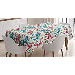 Ambesonne Horses Tablecloth, Classic Swedish Dalecarlian Coral Azure Blue Animals and Green Floral Arrangement, Dining Room Kitchen Rectangular Table Cover, 60 X 84, Pink Blue