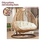 BLSTY Double Hanging Egg Chair Chaise Suspendue Coussin de Siege, Respirant Hamac Coussins de Chaise pour Panier Suspendu Coussin de Dossier Lombaires sans support-C-140x105Cm(55x41Pouces)
