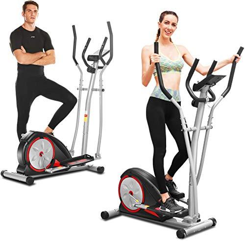 ANCHEER Macchina Ellittica Fitness Machine Cyclette Ellittica con 8 Livelli di Resistenza/Display LCD/Porta Tablet/Maniglia per Test della frequenza cardiaca/Carico Massimo: 265Ibs (Nero)