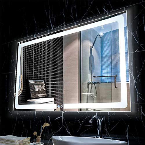 HL - Espejo de baño con luz LED, interruptor de pantalla táctil, 600 x 800 mm, apto para baño o vestidor de maquillaje-WhiteA