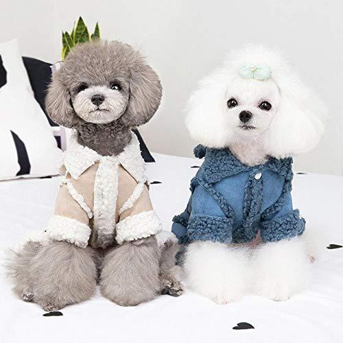 KEAIGUI98 Huisdier kleding, winter dikke jas, Teddy VIP, kleine puppy's, puppy hond kleding, vierbenige kleding herfst en winter warm pak, XL (about 10-13 kg or so), Lichtgrijs