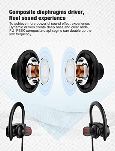 Otium Bluetooth Headphones, Best Wireless Sports Earphones w/Mic IPX7 Waterproof HD Stereo Sweatproof in-Ear Earbud   s Gym Running Workout 8 Hour Battery Noise Cancelling Headsets