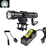 BESTSUN Super Bright Tactical Flashlight WF-501B Cree Xm-L2 LED 1200 Lumens 1 Mode Hunting Light Lamp Torch Set with Pressure Tail Switch, Barrel Mount, 18650 Rechargeable Battery and Charger