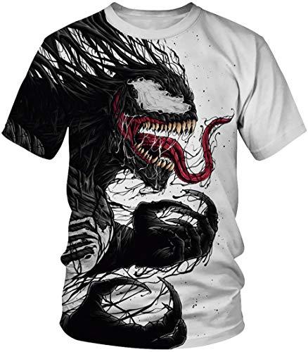 EUDOLAH Herren T-Shirts 3D Druck Bunt Galaxy Sport Rundhals Schmale Passform Motiv Tops A-A-Venom 1 XL