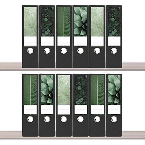 sendmoments Ordneretiketten, Grüne Welt, 12 breite Aufkleber für Ordnerrücken, selbstklebende Rückenschilder für breite Ordner zum Beschreiben