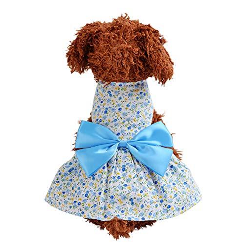 Makalon Hund Sommer Mode Freizeit Baumwolle Atmungsaktiv Bodenbildung Hundepullover Krawatte Hunde Kleid Katze Frühling Süß Ärmellos Komfort Blumen Drucken Kleidung T-Shirt für Haustiere