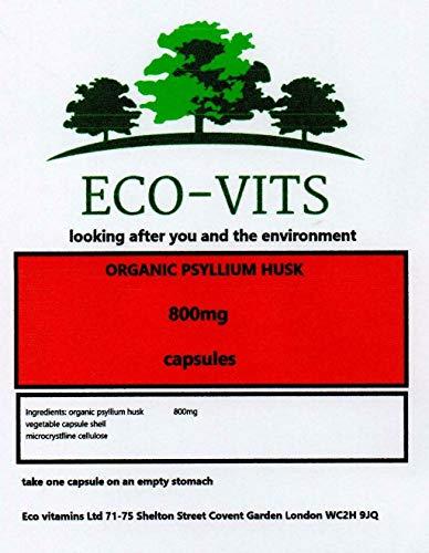 ECO-VITS Organic PSYLLIUM Husk Fibre (800MG) 120 CAPS. Biodegradable Packaging. Sealed Pouch