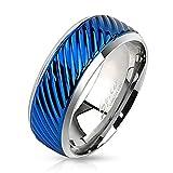 BlackAmazement anillo de acero inoxidable IP modelo groove lined negocios azul hombres mujeres plata