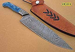 RK-CP-315, Handmade Damascus Steel Chef Knife – Solid Colored Bone Handle with Damascus Steel Bolsters (Rk-315)