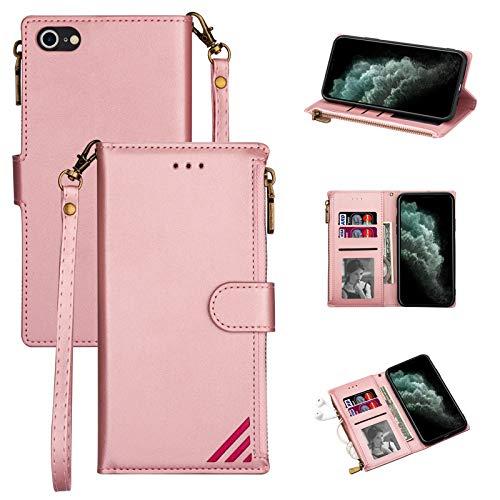 LOLFZ Funda para iPhone 7 Plus, para iPhone 8 Plus, de piel de alta calidad, con tarjetero, cierre magnético, color oro rosa