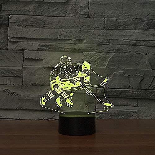 HJW-CD 3D Eishockey Spieler Nachtlicht Lampe 7 Farbwechsel LED Touch USB Tisch Geschenk Kinder Spielzeug Dekor Dekorationen Weihnachten Geburtstagsgeschenk