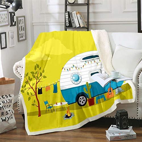 Erosebridal Cactus Sherpa Blanket, Guitar Throw Blanket Hawaiian Vacation Cartoon Fuzzy Blanket for Kids Girls Boys Teens Car Traveling Vintage Camper Fire Pit Flannel Blanket, Yellow Twin