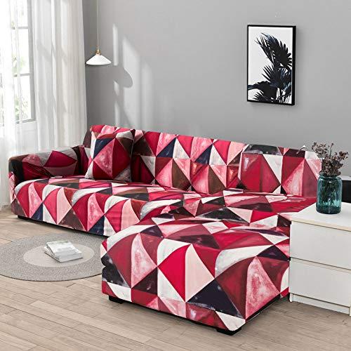 YANJHJY 1/2 Fundas elásticas para sofá de Esquina, para Sala de Estar, Fundas de sillón, sofás con Chaise Longue, color24, 2 plazas y 2 plazas
