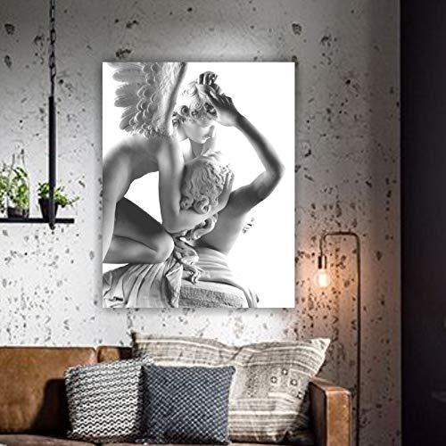 IDG HODE79- Quadro- Stampa- Foto- Poster- Artistica su Tela di Alta qualità- Amore e Psiche - Quadro su Tela- Telaio di Legno Naturale.