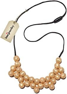 ima-jewelry BPA Free Chewable Silicone Baby Teething Necklace | Chew Beads - Safe for Baby | Chew Bead Necklace, Gold