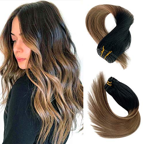 18 Inch Balayage Real Human Hair Sew in Extensions Dark Roots to Chestnut Brown with Blonde Highlights Hair Bundles 100grams Full Head Sew-in Wefts