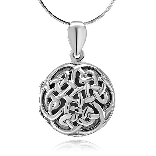 925 Sterling Silver Open Celtic Knot Circle Round Pendant Locket Necklace, 18 inches - Nickel Free